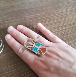 Vintage Jewelry - Vintage Peyote Turquoise and coral ring & cuff set